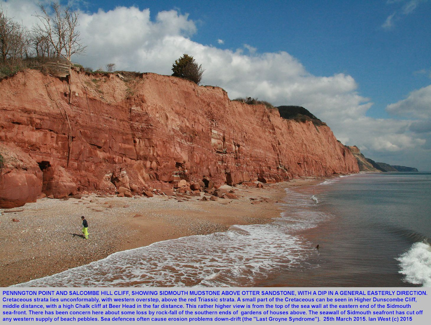 A view from the sea-wall, partly looking down, of the Otter Sandstone and Mercia Mudstone cliffs at Pennington Point, east of Sidmouth, Devon, 25th March 2015