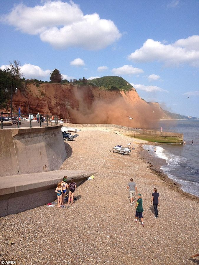 A cliff fall at Pennington Point, Sidmouth, Devon, seen in August 2014, photograph by Tony Lane, New Forest Hampshire and reproduced in the Daily Mail online for 2014