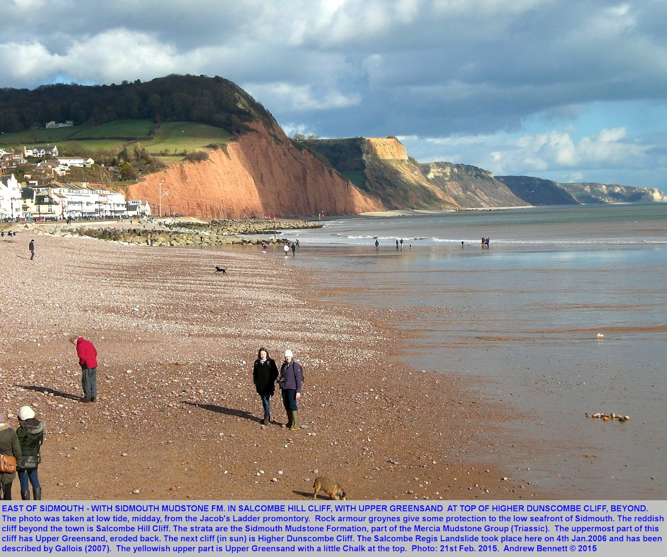 A general view of the cliffs east of Sidmouth, Devon, including Salcombe Hill Cliff and Higher Dunscombe Cliff, showing the Sidmouth Mudstone Formation of the Mercia Mudstone Group, with Upper Greensand lying unconformably above, February 2015