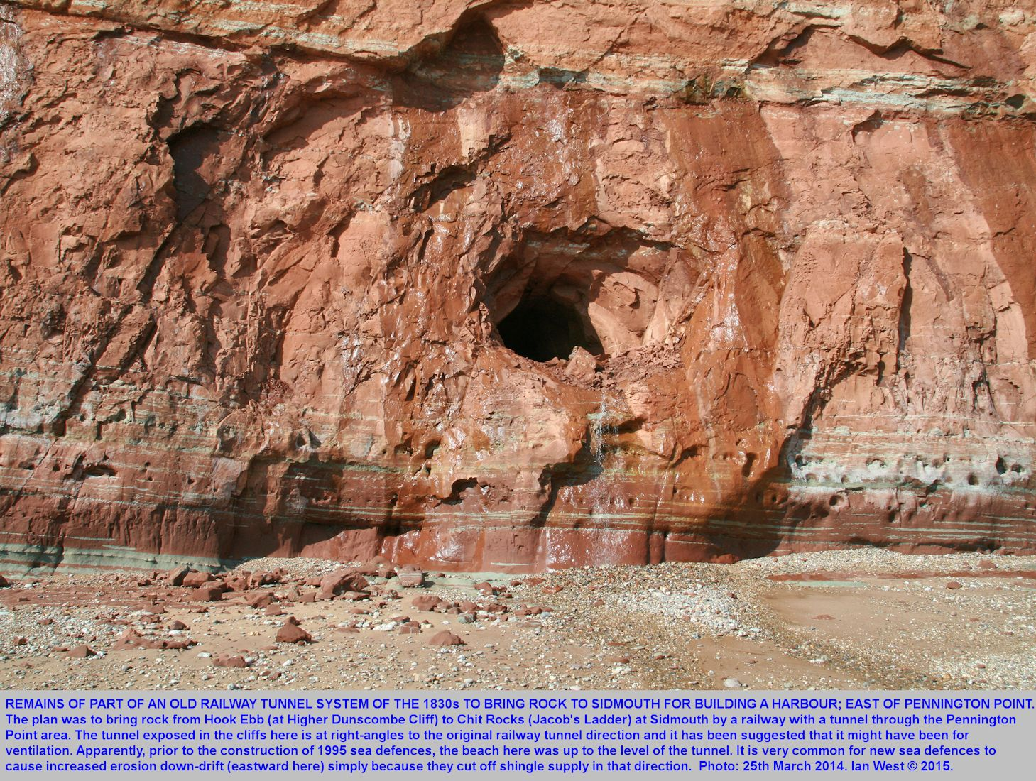 An old tunnel in the Sidmouth Mudstone, east of Pennington Point, Sidmouth, Devon, probably part of an old railway system intended to be used for the construction of a harbour at Sidmouth