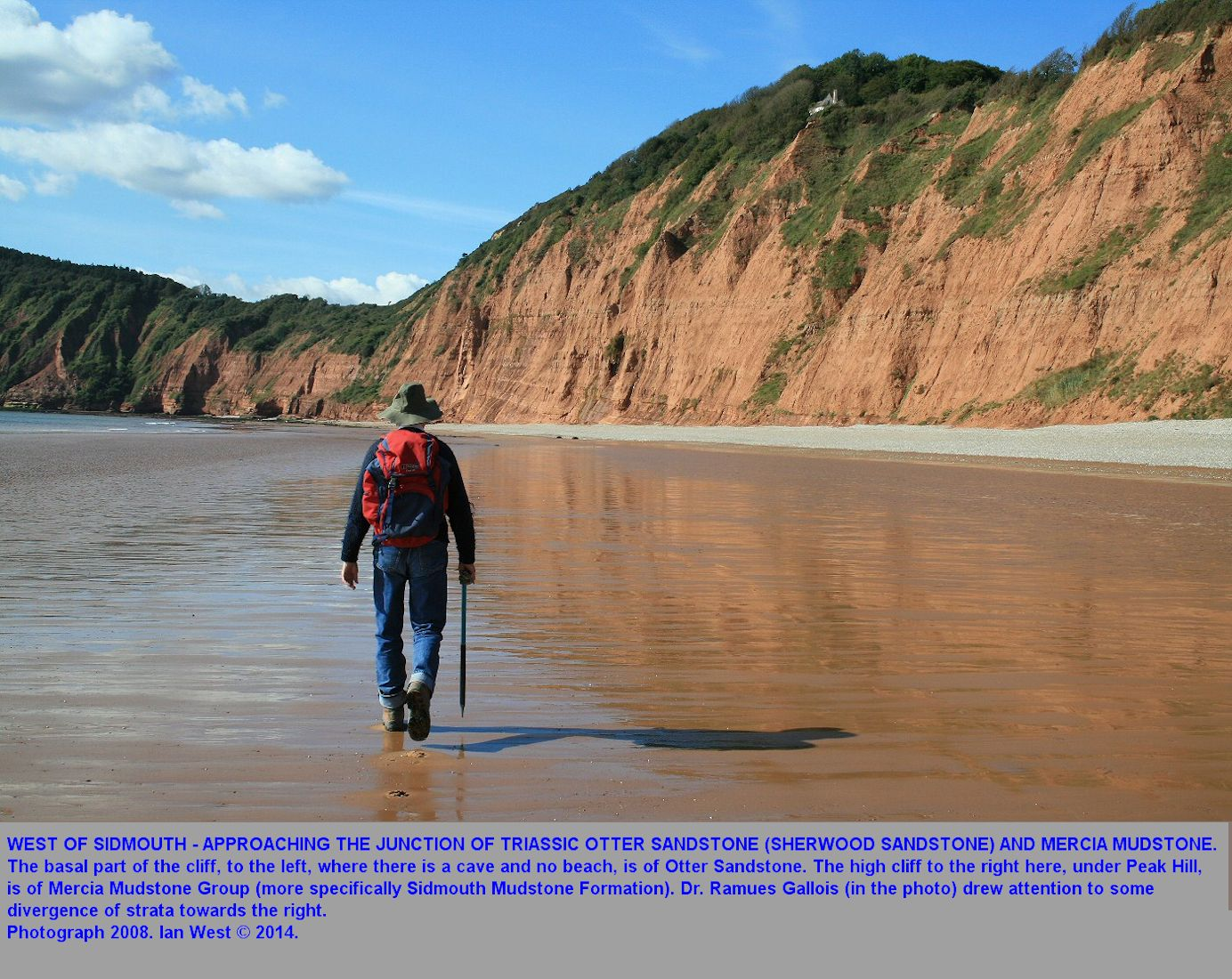 Walking across the bay from Jacob's Ladder to the Otter Sandstone - Mercia Mudstone junction, west of Sidmouth, Devon, 29th September 2008, revised 2015