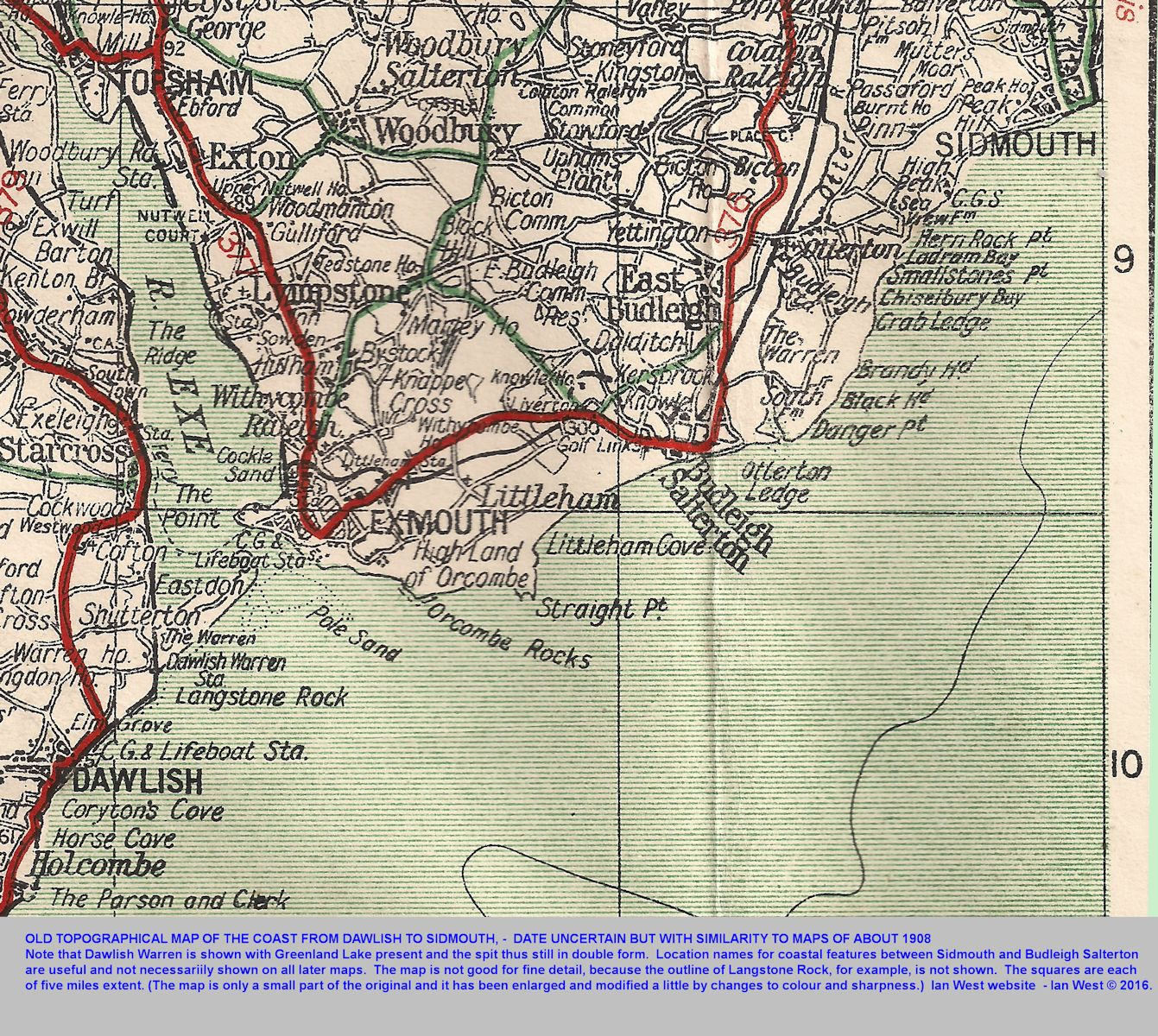 An old topographic map of the coast from Sidmouth to Dawlish, Devon, including Ladram Bay, Budleigh Salterton, Exmouth and Dawlish Warren