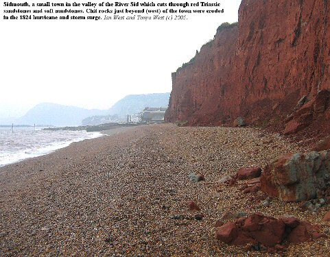 View of Sidmouth, Devon, looking west from the red Triassic marls of Salcombe Hill Cliff