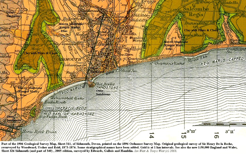 Part of the geological map of Sidmouth, Devon, 1906 edition