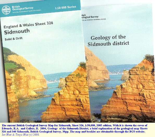 Current British Geological Survey map of Sidmouth, Devon, and associated explanatory booklet