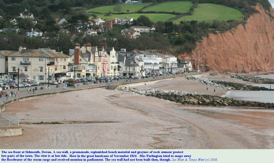 The sea wall and promenade at Sidmouth, Devon, defences against major storms, seen here at low tide
