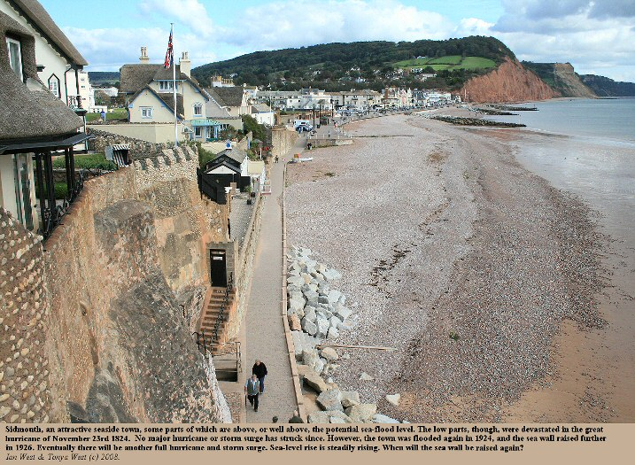 Sidmouth, Devon, seen from the west, with a low sea front area, which was badly flooded in the 1824 hurricane