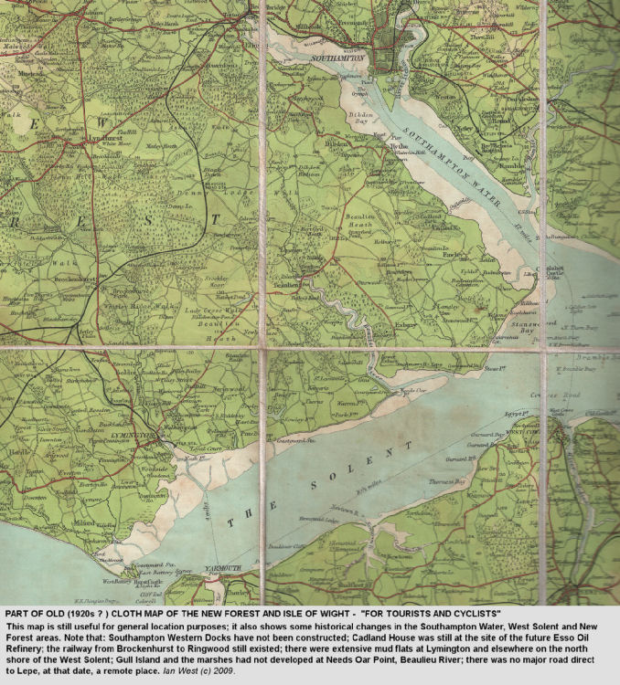 An old, topographic map of parts of the New Forest and the Solent Estuaries, southern England, probably from about the 1920s