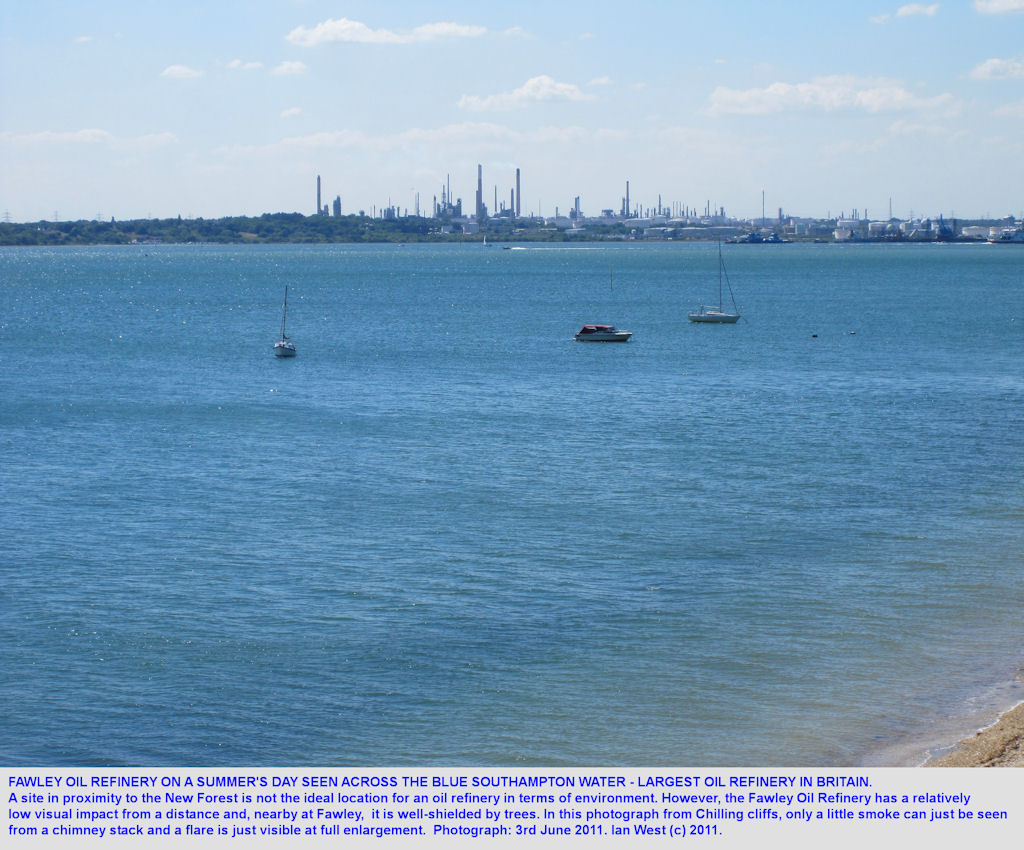 Fawley Oil Refinery seen across Southampton Water from Chilling, Solent Estuaries, southern England, 2011