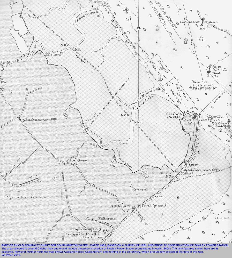Part of a chart from 1955 showing the future site of the Fawley Power Station, and the location of Calshot Spit, Southampton Water, Solent Estuaries, southern England