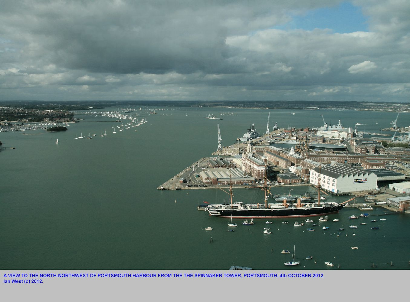 Portsmouth Harbour, looking NNW from the Spinnaker Tower, Portsmouth, Solent Estuaries, southern England