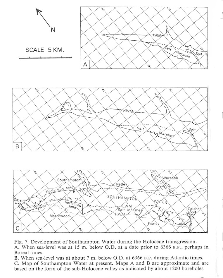 Fig. 7 of Hodson and West (1972) - Development of Southampton Water during the Holocene transgression, Solent Estuaries, southern England