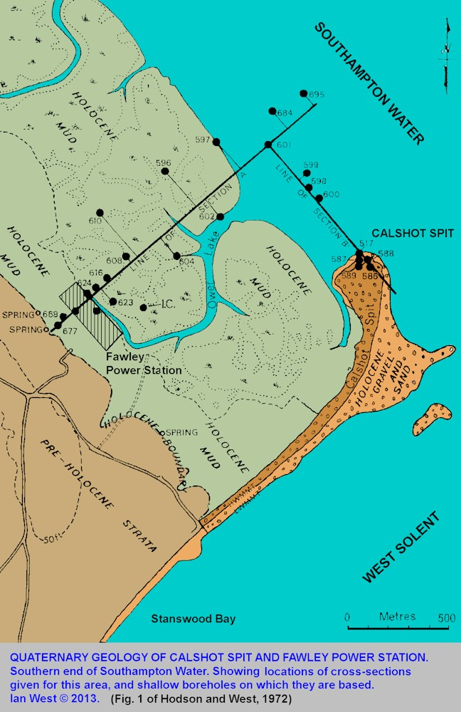 A location map for Calshot Spit, Fawley Power Station, Quaternary geology and the locations of cross-sections shown, Solent Estuaries, southern England