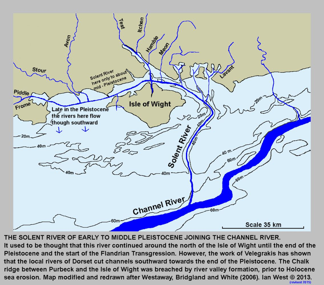 A map of the hypthetical Solent River System, present during part of the Pleistocene, when sea-level was low, Solent Estuaries, southern England, based with modifications on Westaway, Bridgland and White, 2006