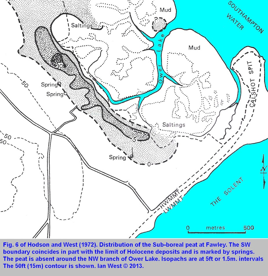 Fig 6 of Hodson and West, 1972,the distribution of the Sub-Boreal peat bed, shown as a map, Solent Estuaries, southern England