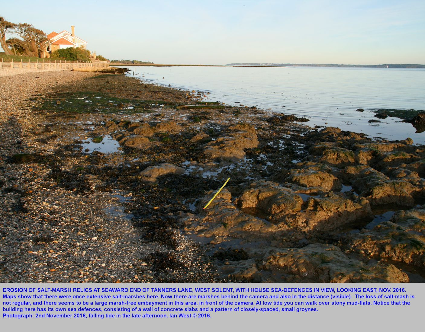At Tanners Lane, Solent Estuaries, southern England, with a falling tide, on 2nd November 2016, view eastward