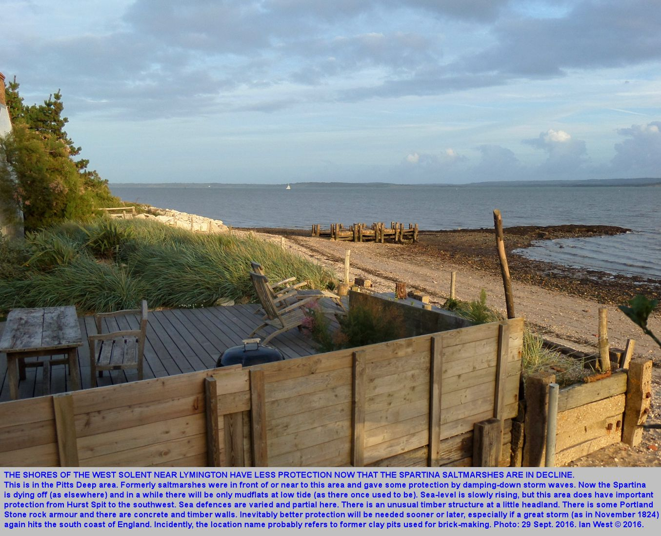 Some sea defence measures at Pitts Deep, West Solent Estuary, near Lymington, West Solent Estuary, southern England, 29th September 2016