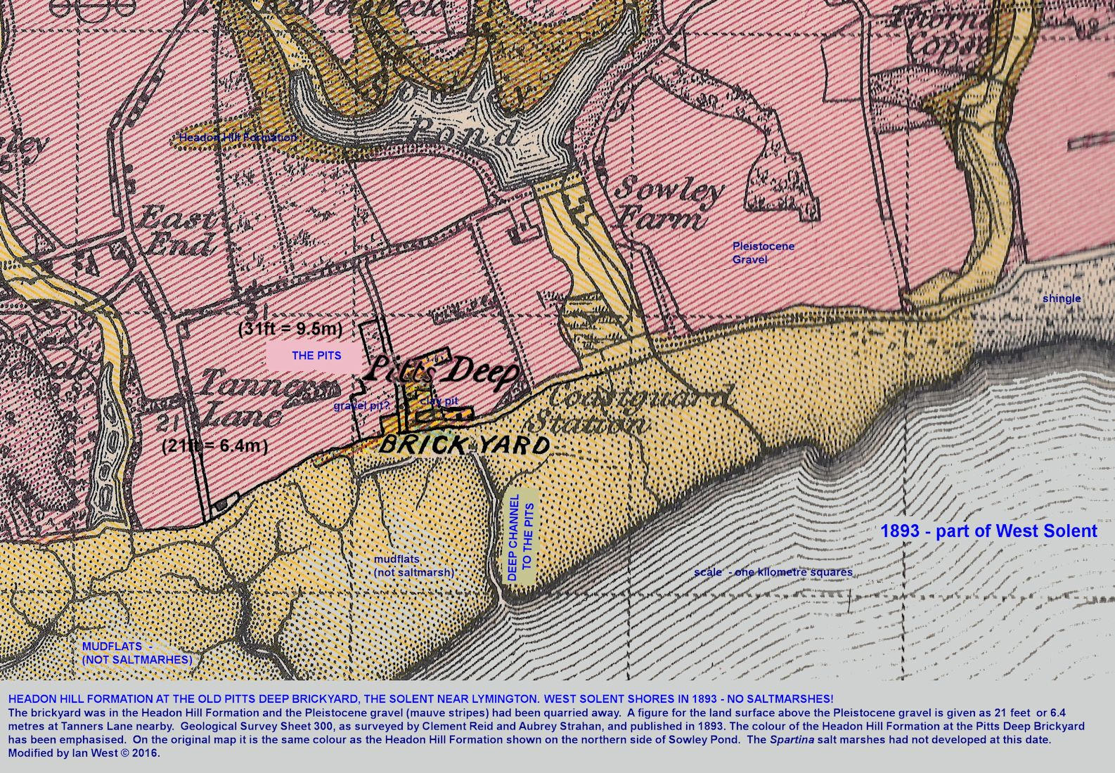 Details of the geology in the area of Pitts Deep, east of the Lymington estuary in the West Solent, southern England, as shown on an old geological map from 1893
