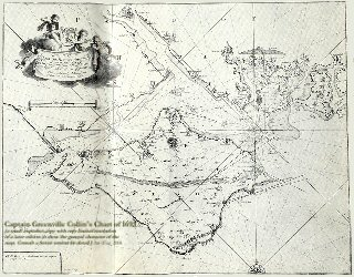 Collins Chart of 1693 showing the  Solent and the Isle of Wight, southern England. This is just an illustrative image of low resolution.