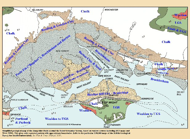 Simplified geological map of the Hampshire Basin around the  Solent Estuaries, southern England