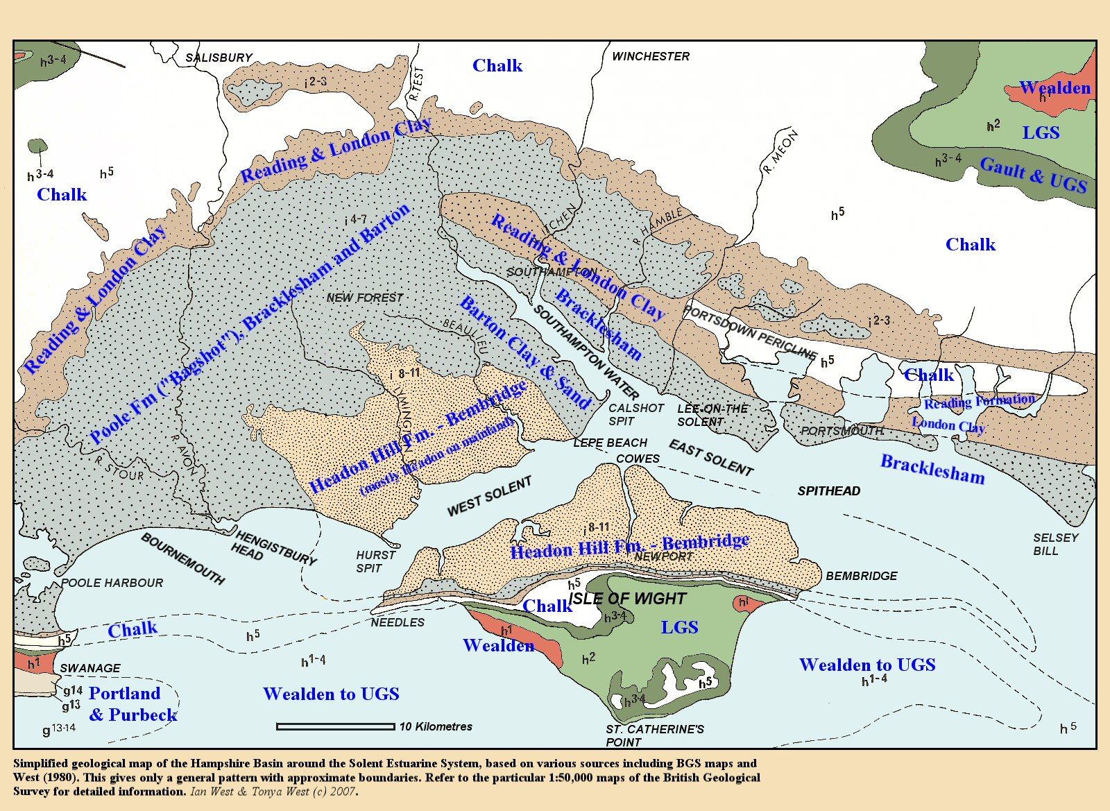 Map Of Uk Hampshire.Solent Geology Introduction Southampton Water Brambles Bank