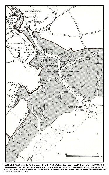 An old chart of the Lymington area in the Solent, showing the former extent of saltmarshes, which has since been much reduced by die-back and erosion
