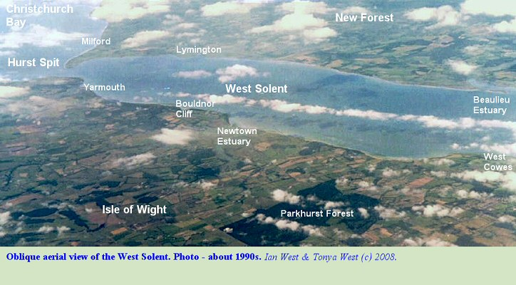 , An oblique aerial view of the West Solent, southern England