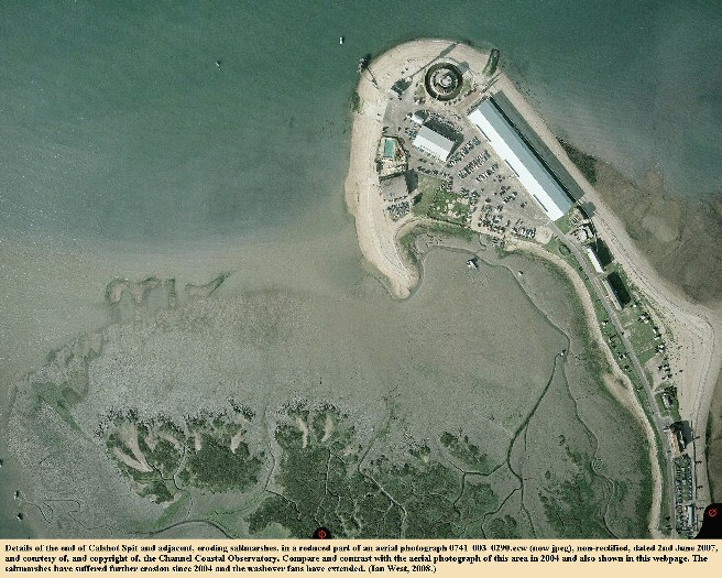 The end of Calshot Spit, Solent, Hampshire, England, shown in an aerial photograph of the 2nd June 2007, courtesy of the Channel Coastal Observatory, and with erosion of saltmarshes visible