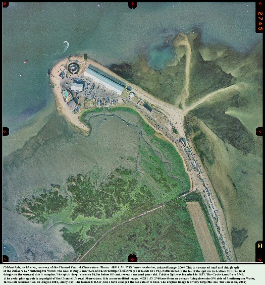 Calshot Spit, Southampton Water, southern England, aerial photograph courtesy of the Channel Coastal Observatory, a recurved shingle spit