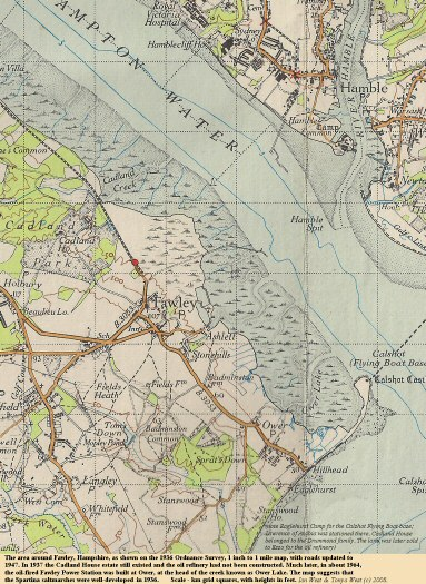 An old topographic map, 1936 with roads updated to 1947, of the Fawley and Calshot area, Solent Estuaries, southern England