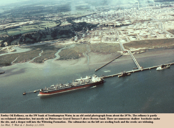 An old aerial photograph of the southwestern side of Southampton Water, with Fawley Oil Refinery, probably from about the 1970s</A>