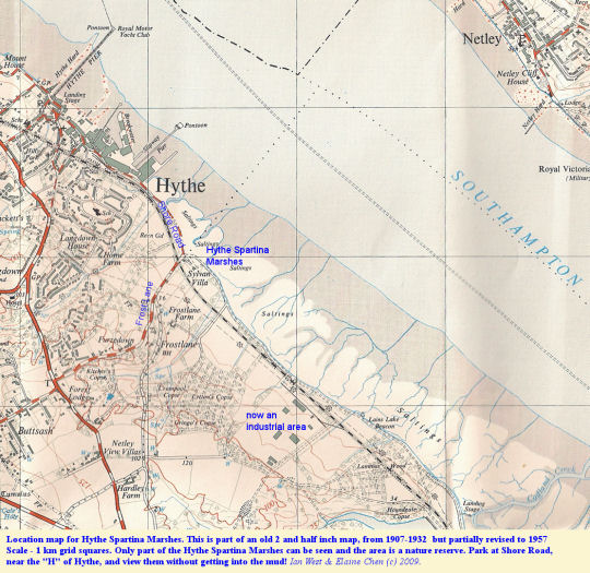 Part of a topographic map showing the location of the Hythe Spartina Marshes, Hythe, Southampton Water, Solent Estuaries, southern England