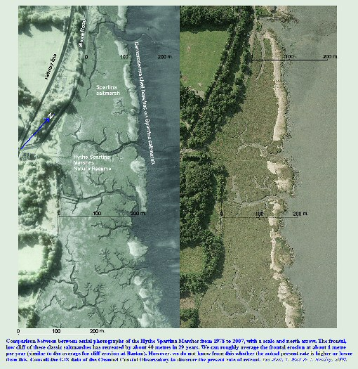 Comparison of aerial photographs of Hythe Spartina Marshes from 1968 to 2007, Solent Estuaries, southern England