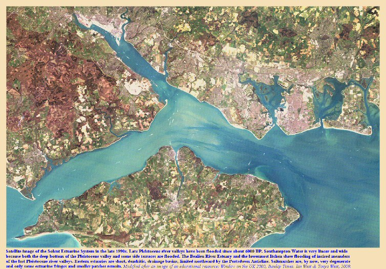 A satellite overview of the Solent Estuaries, southern England, late 1990s