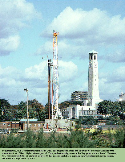 Southampton No.1 (Western Esplanade) Geothermal Borehole, during the drilling in 1981