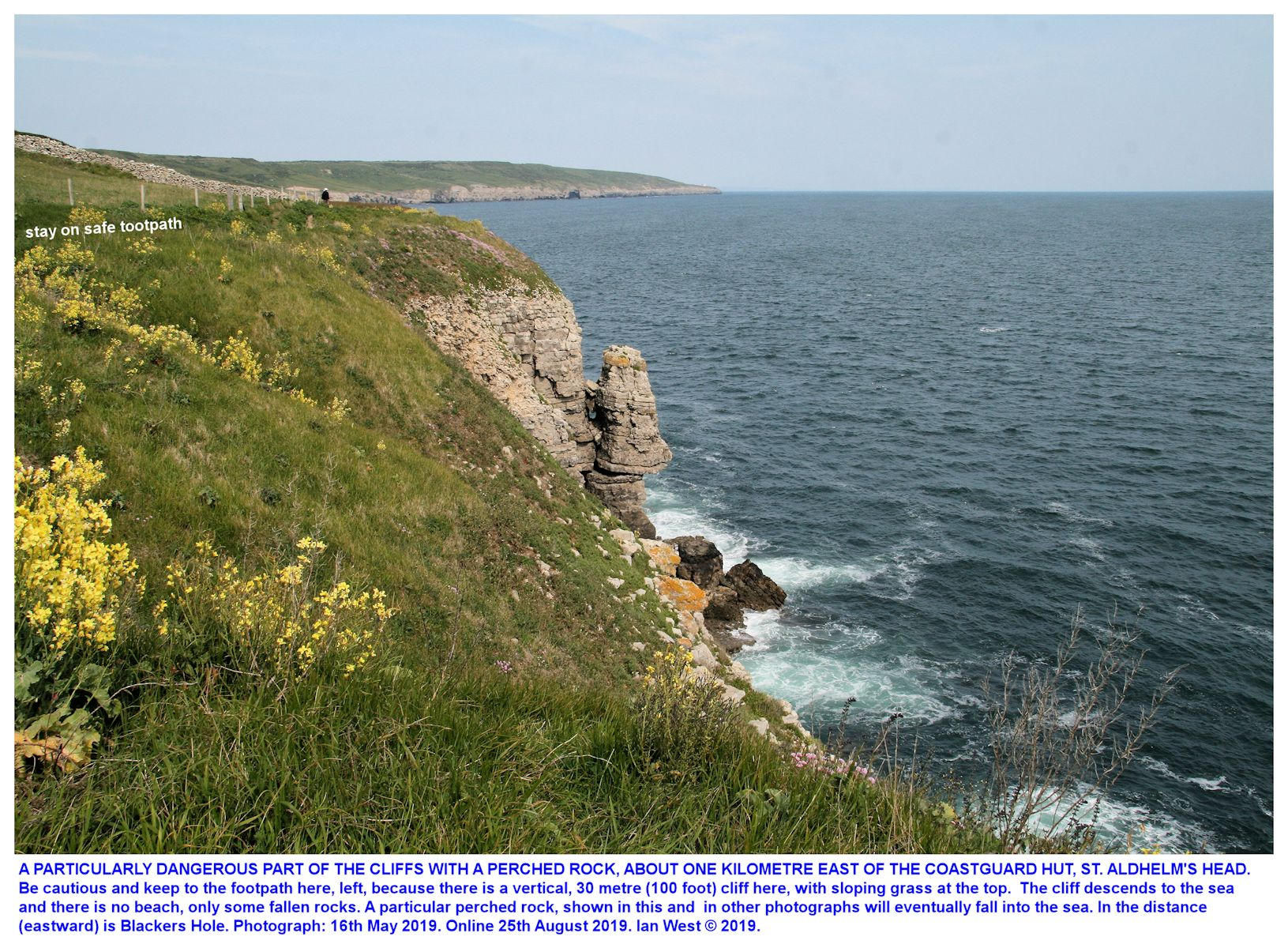 An unstable rock, an incipient topple of some Portland Stone, east of St. Aldhelm's Head as seen in May 2019, online Aug 2019, Ian West