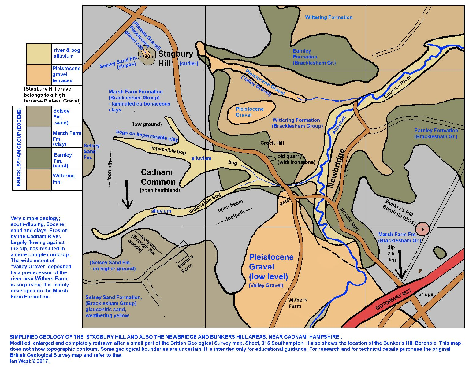 A simplified geological map of the area around Stagbury Hill and Newbridge, Cadnam area, New Forest, southern England