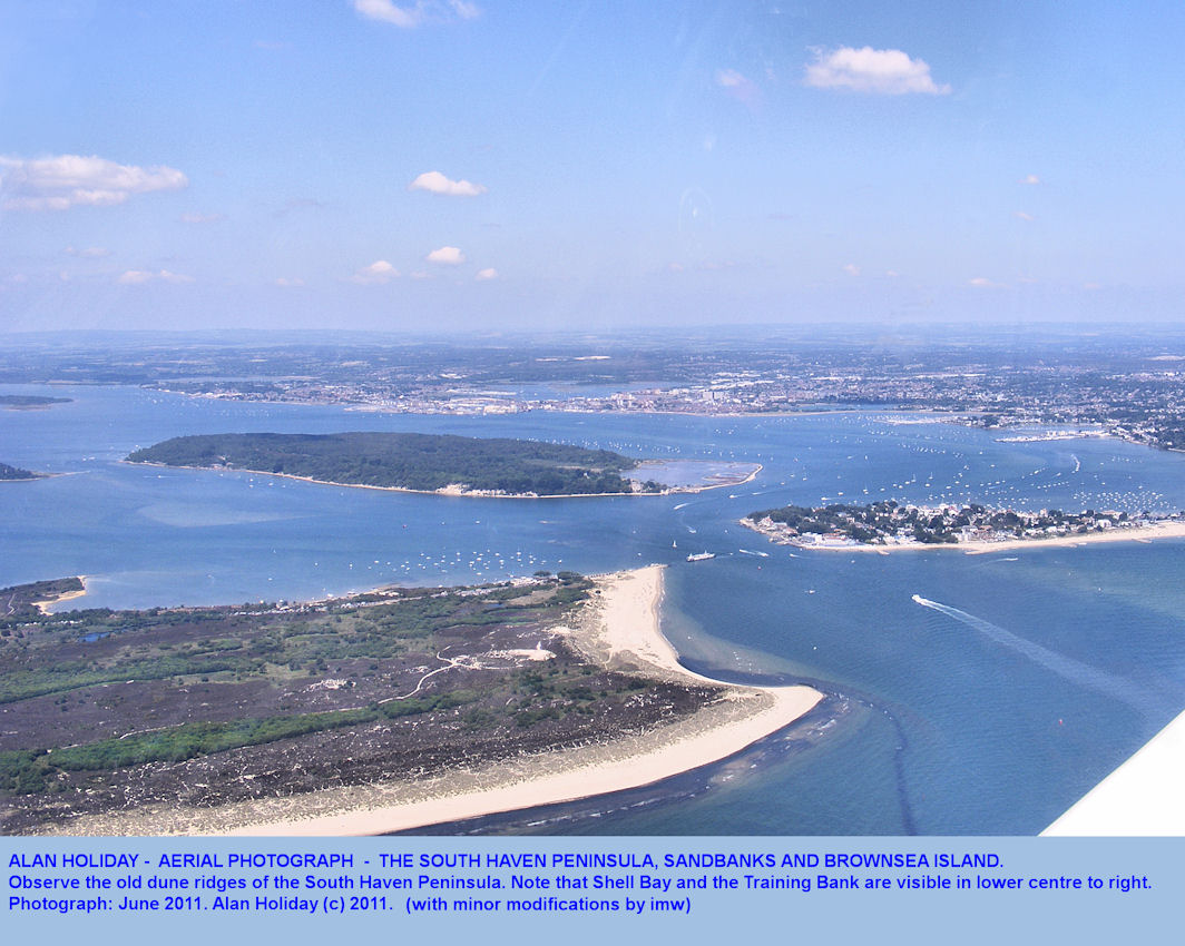 The entrance to Poole Harbour at Sandbanks and Studland, Dorset, with Brownsea Island, aerial view by Alan Holiday, June 2011