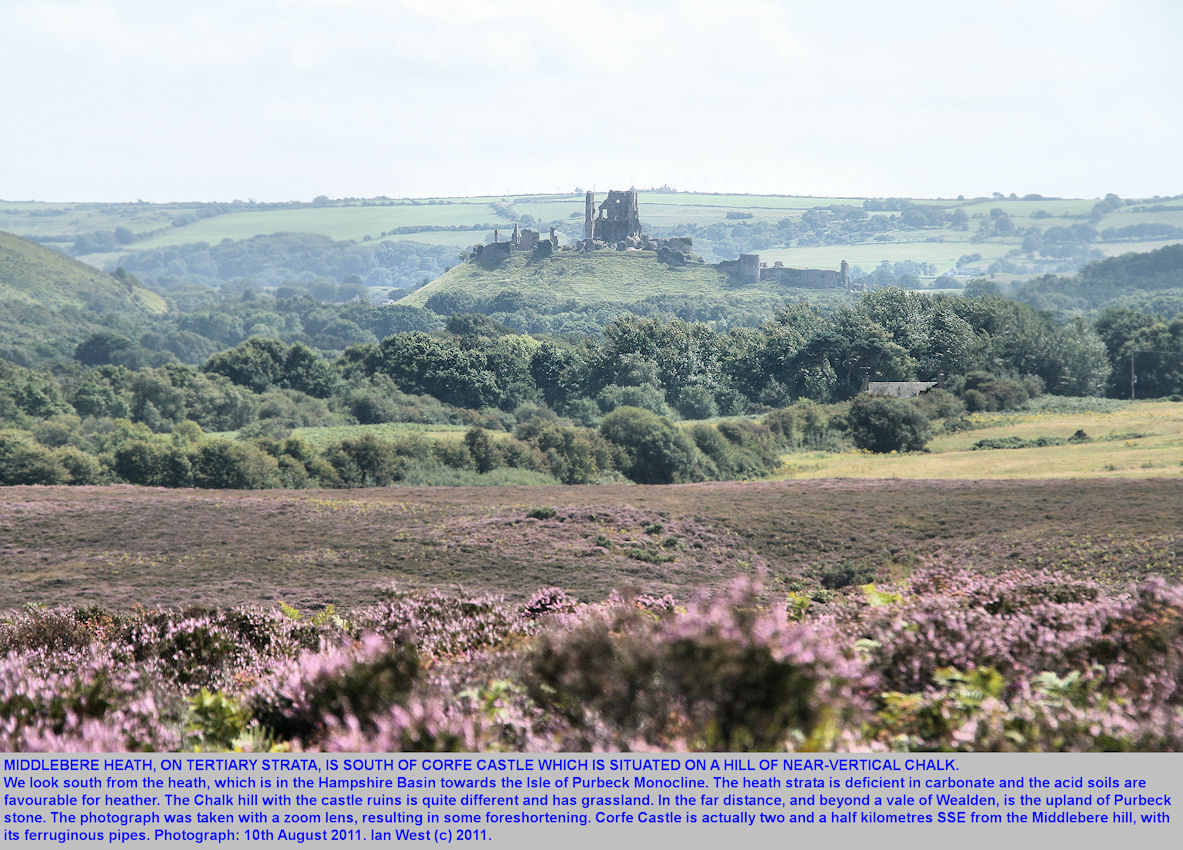 A view from  Hartnole Hill on Middlebere Heath southward to Corfe Castle, Isle of Purbeck, Dorset, 10th August 2011