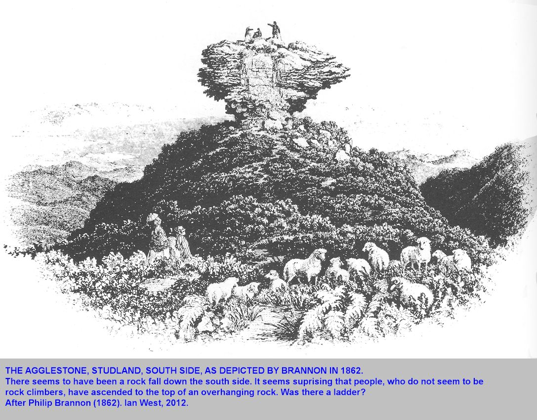 The Agglestone Rock, Studland, Dorset, as shown by Brannon in 1862