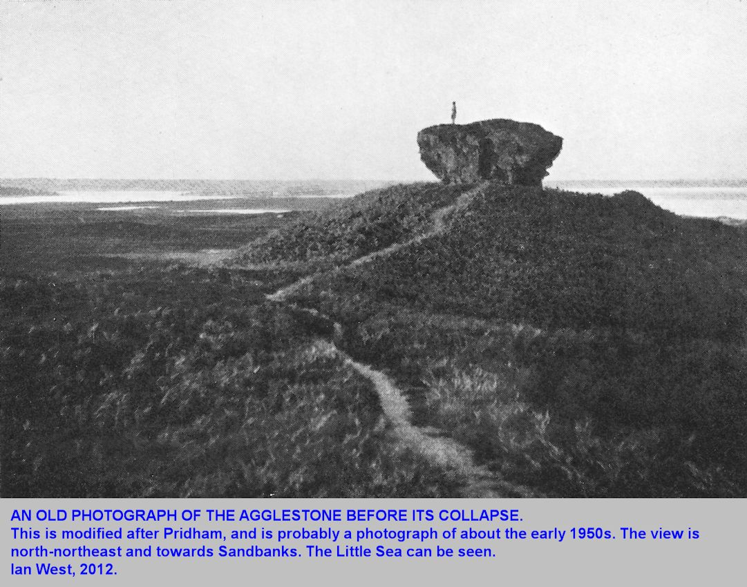 A old view of the Agglestone, when still in place, probably in the early 1950s, Studland, Dorset