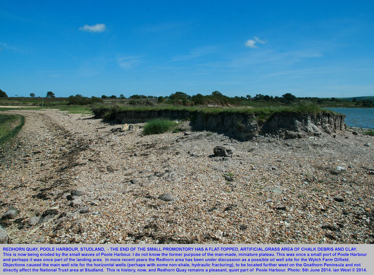 Looking landward, eastward, at the end of Redhorn Quay, Studland, Dorset, 5th June 2014