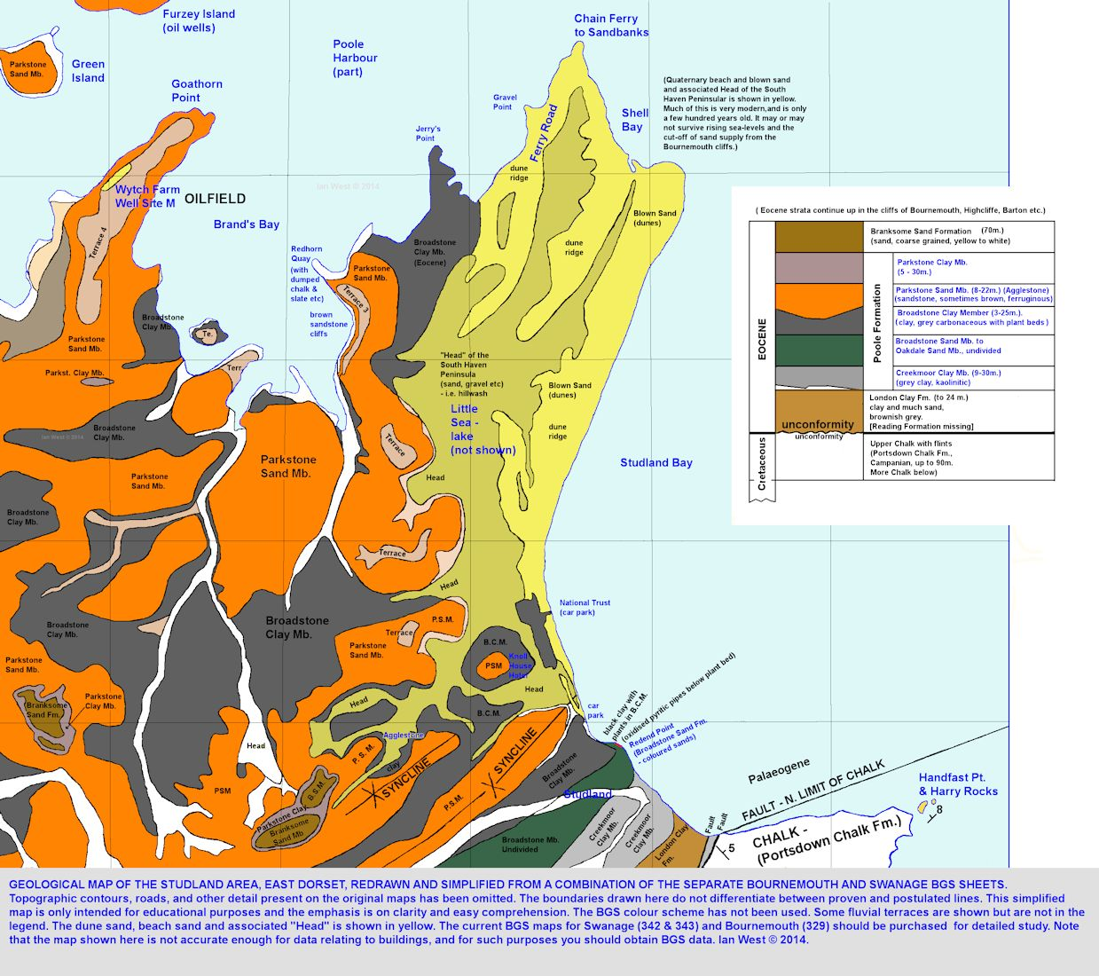 A simplified geological map of the South Haven Peninsula and Studland, Dorset, based on modern geological maps, but completely redrawn, 2014