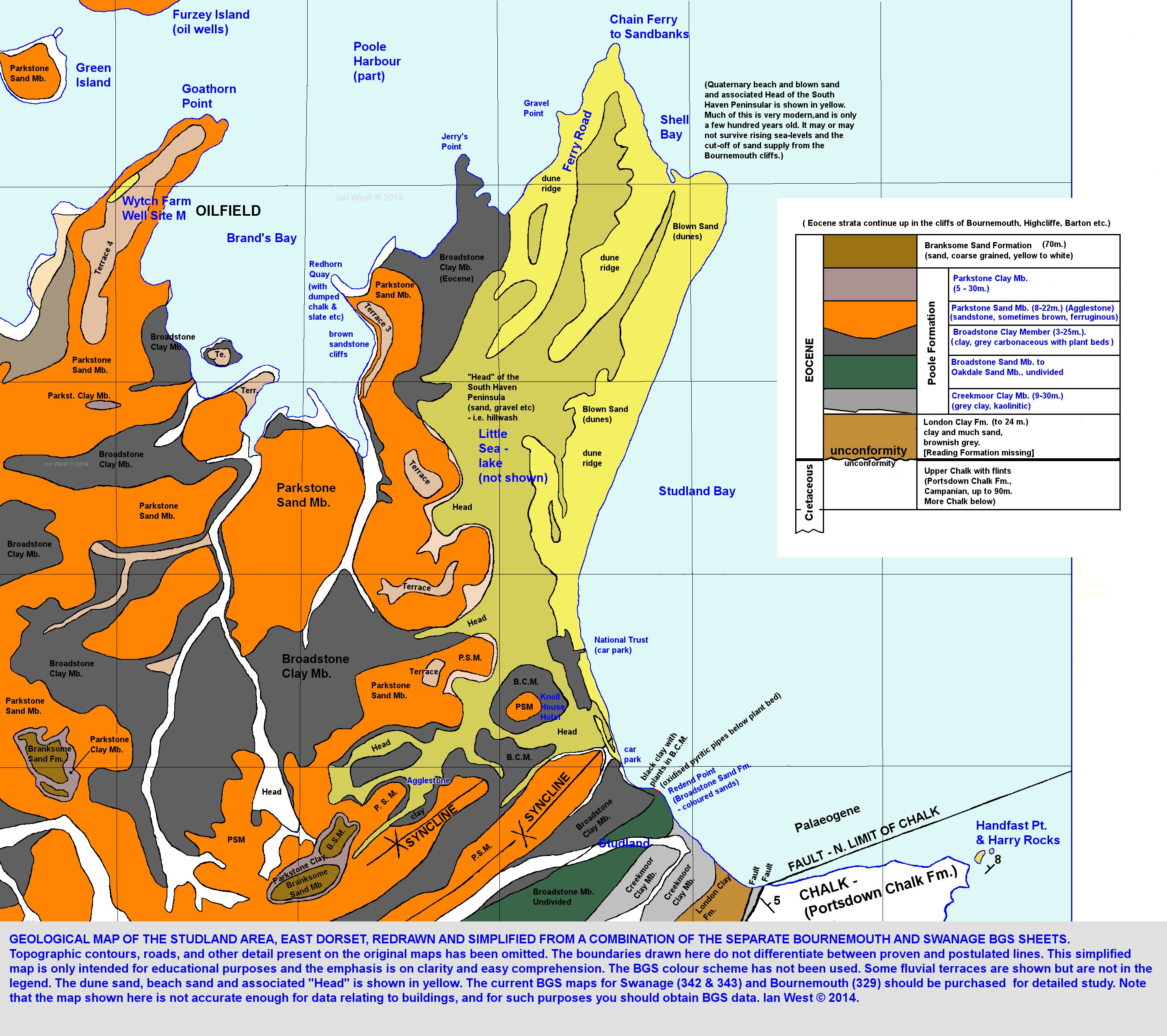 Map Of Uk Dorset.Studland South Haven Peninsula Poole Harbour Side Geology And