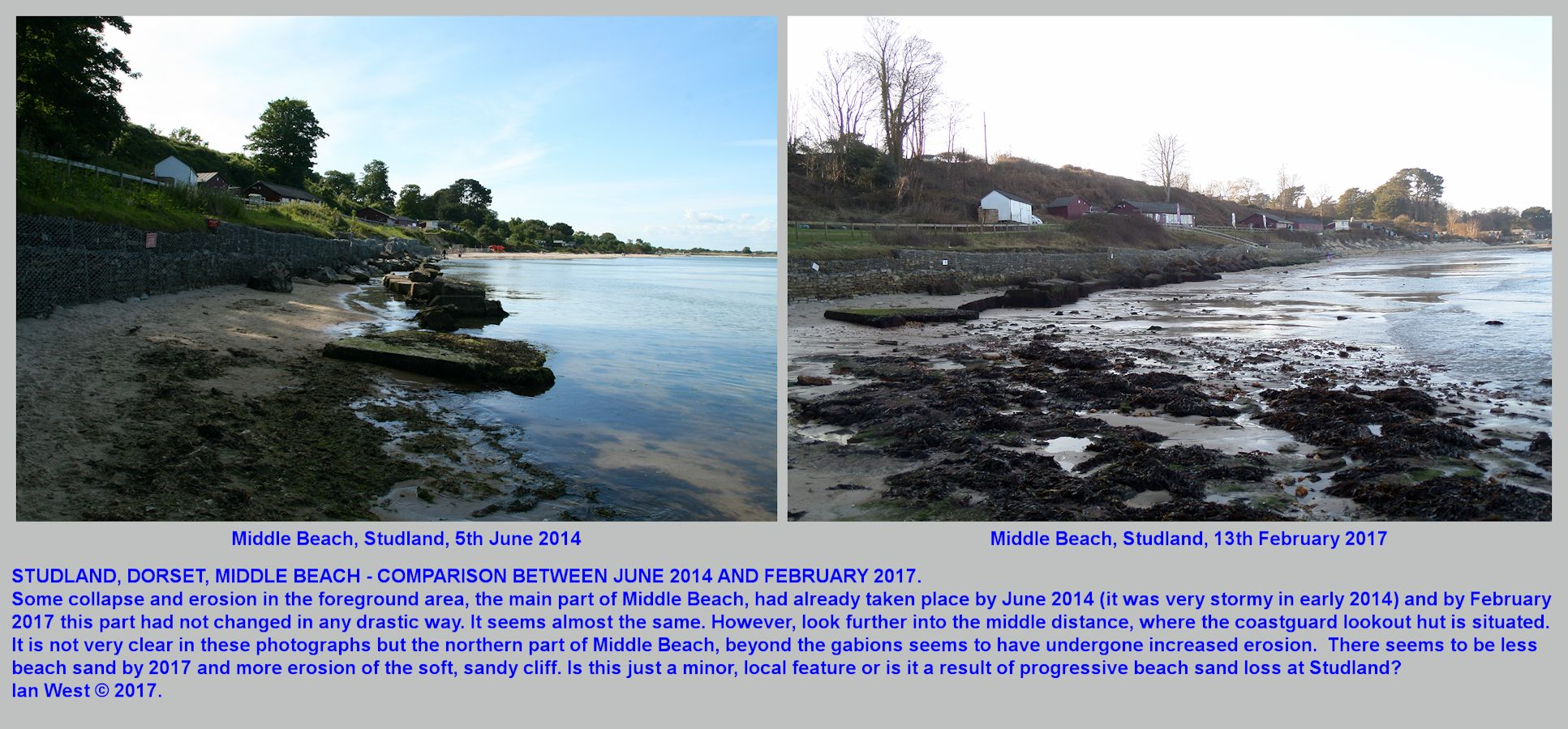 Middle Beach, Studland, Dorset, a comparison between the erosion state in June 2014 and in February 2017