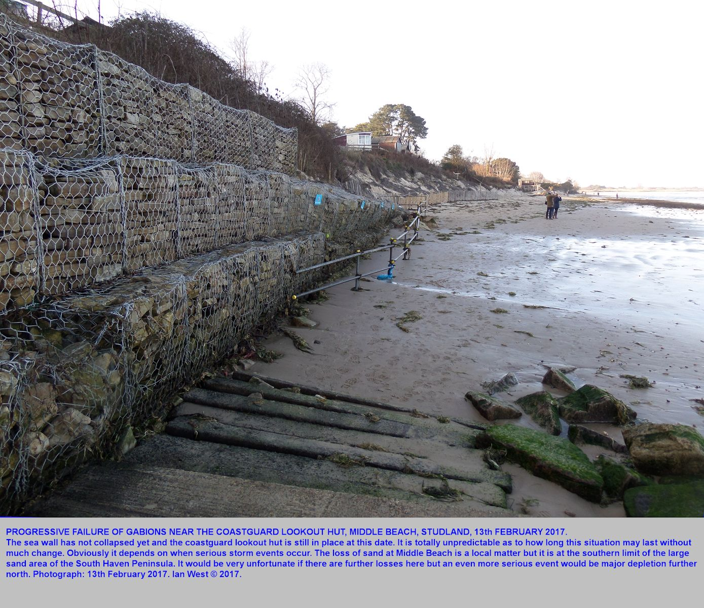 Some gabions at the northern part of Middle Beach, Studland, Dorset, with some instability and some potential for collapse, 13th February 2017