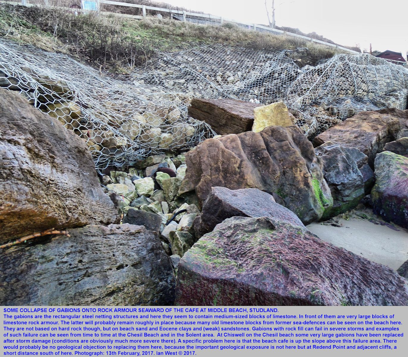 Failure of some gabions and release of limestone blocks, below the cafe, Middle Beach,  Studland, Dorset, 13th February 2017