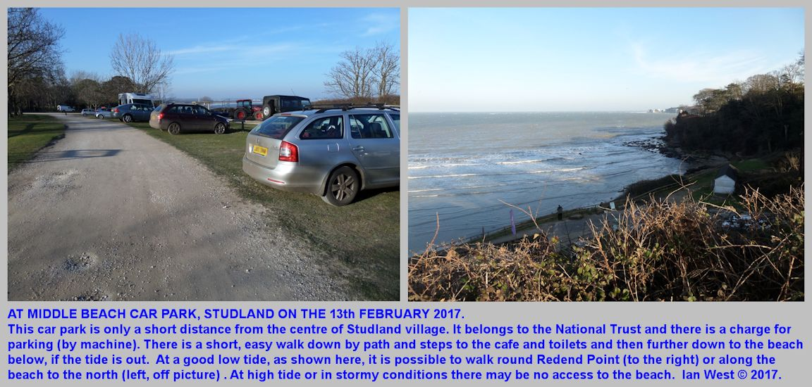 Middle Beach Car Park and the view over the sea to the east, Studland, Dorset, 13th February 2017