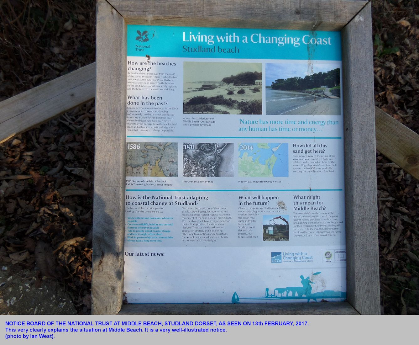 Informative notice board of the National Trust, at Middle Beach, Studland, Dorset, as seen on the 13th February 2017