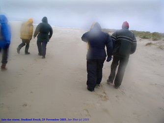 Into the storm, on Studland Beach, November, 2003